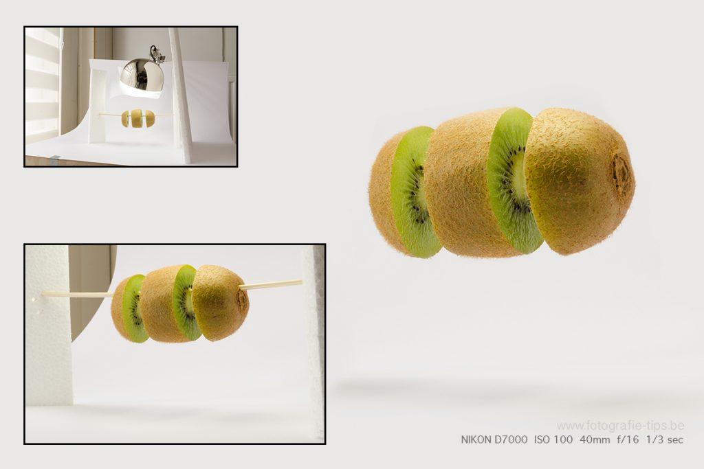 Zwevende kiwi-Productfotografie